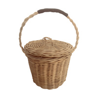 Cane & Leather Gathering Basket
