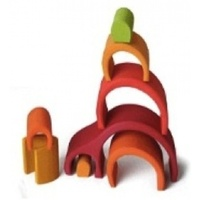 Wooden Puzzle Blocks - Arch House Red 8 Elem