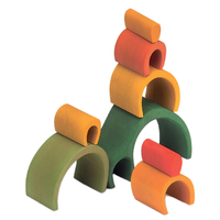 Wooden Puzzle Blocks - Arch House Green 8 Elem