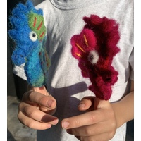 Pair of Mating Seahorse Finger Puppets