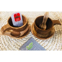 Cup & Saucer Pair Wooden