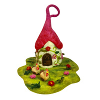 Fairy Cottage House Dark Pink Roof