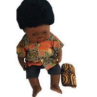 Aboriginal Boy Doll dressed in Fire Dreaming Olive Outfit