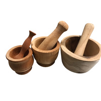 Wooden Mortar & Pestle - Medium 8.5 x 7cmH