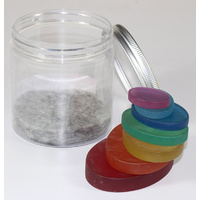Rainbow Resin Pebble Slices 7pcs Portable Play Jar