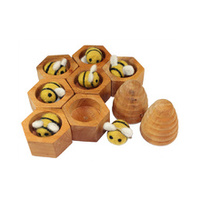 Wooden Honeycomb Bee Hive & Felt Bee Set - 16pcs