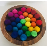 Rainbow Felt Balls In Wooden Flat Bowl With Bamboo Tongs
