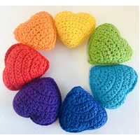 Crochet Hearts Rainbow Set of 7