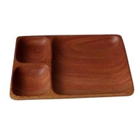 Mahogany Sorting Tray 3 Compartments