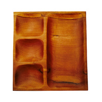 Mahogany Sorting Tray - 4 Compartments