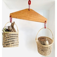 Wooden Balance Scale Carabinas with Baskets
