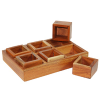 Mahogany Sorting Tray - 6 Compartments & Boxes