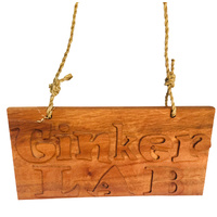 Tinker Lab Handcarved Wood Sign Small