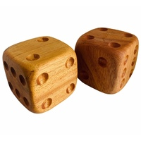 Wooden Dice Duo Handcarved 6x6cm