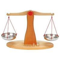 Wooden Scales & Brass Weights