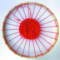 Wooden Round Weaving Frame w 25 holes 22cm diameter