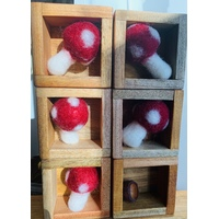 6 Red Felt Mushrooms Portable Play