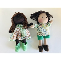 Aboriginal Boy & Girl Mini Doll Set 16cm -Dancing Flowers Green