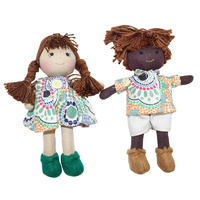 Aboriginal Boy & Girl Mini Dolls 16cm Set of 2 Meeting Places ECRU