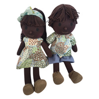 Doll Set 35cm Dancing Flowers Green Boy & Girl #1 OOAK