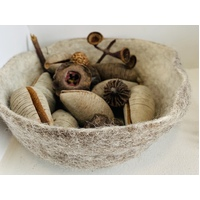 Felt Bowl 22cm x 5cm Brown Stone Natural colour