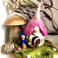 Fairy House Cottage Pink Roof