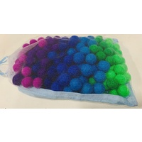1cm Felt Balls Assorted Colours In Calico Bag