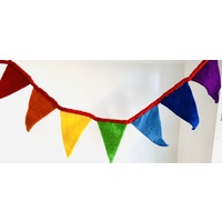 Rainbow Flag Bunting With Felt Rope