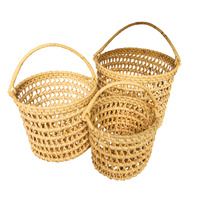 Bucket Basket Handwoven Stacking Set 3