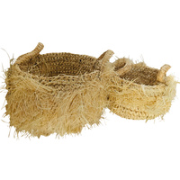 Baskets Handled Grass Set 2 Light Tones