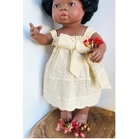 Doll Dressed in Buttercup Cut Work Dress
