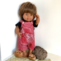 Doll dressed in Dreamtime Riverbed Overalls