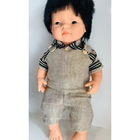 28-32cm Doll Fine Wool Overalls & Polo Shirt Outfit