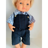 28-32cm Doll French Cotton Shirt & Navy Overalls Outfit