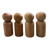 Peg Doll Set of 4: 6cm Natural Beeswaxed