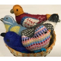 Birds 5 Assorted Felt & Handwoven