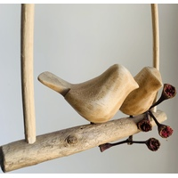 Wood Birds On A Bamboo Swing