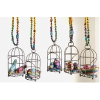 Handwoven mini birds in open door cage mobile.