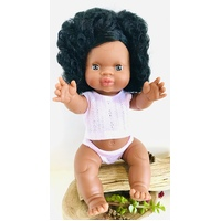 Aboriginal Australian Girl Doll Black Hair 34cm