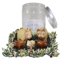 Playset Pig Family Portable Play Jar