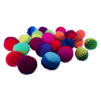24 Crochet Multicoloured Sorting Balls 3cm