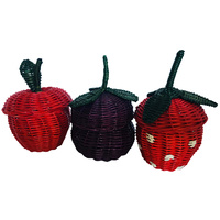 Containers Rattan Fruit Set 3 Handwoven