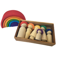 Rainbow Family 6 Peg Doll Set Crochet Cap
