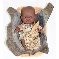 Aboriginal Australian 21cm Baby Boy Coolamon Set