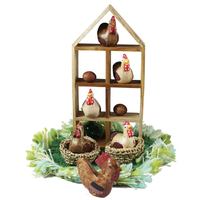 Chicken House & Chickens Nesting Set