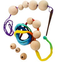 Threading Wooden Beads & Thick Thin Wool PPJ