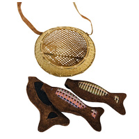 Leather Fish & Gathering Basket