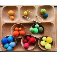 Montessori Sorting Tray Felt Balls With Bowls