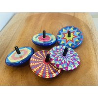 Spinning Top Board & 3 Assorted Metal Tops