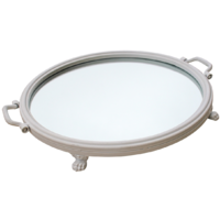 Mirror Tray Round White Metal